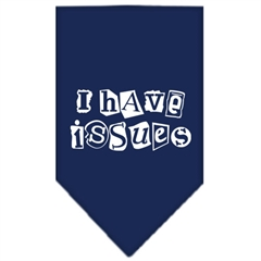 Mirage Pet Products I Have Issues Screen Print Bandana Navy Blue Small