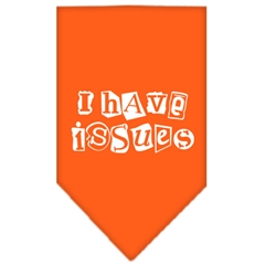 Mirage Pet Products I Have Issues Screen Print Bandana Orange Large