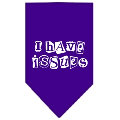 Mirage Pet Products I Have Issues Screen Print Bandana Purple Large