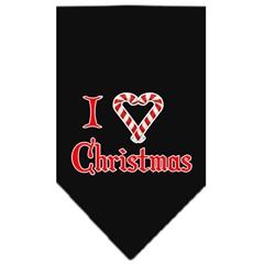 Mirage Pet Products Heart Christmas Screen Print Bandana Black Large