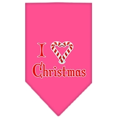 Mirage Pet Products Heart Christmas Screen Print Bandana Bright Pink Small