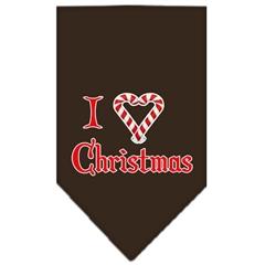 Mirage Pet Products Heart Christmas Screen Print Bandana Cocoa Large