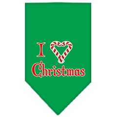 Mirage Pet Products Heart Christmas Screen Print Bandana Emerald Green Large