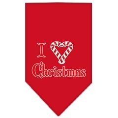 Mirage Pet Products Heart Christmas Screen Print Bandana Red Small