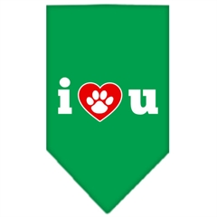 Mirage Pet Products I Love U Screen Print Bandana Emerald Green Large