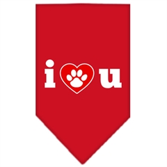 Mirage Pet Products I Love U Screen Print Bandana Red Large