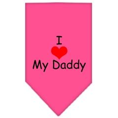 Mirage Pet Products I Heart My Daddy  Screen Print Bandana Bright Pink Large