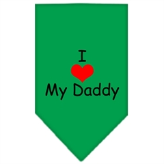 Mirage Pet Products I Heart My Daddy  Screen Print Bandana Emerald Green Small