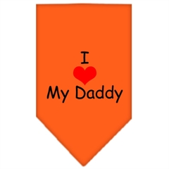 Mirage Pet Products I Heart My Daddy  Screen Print Bandana Orange Large