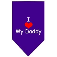 Mirage Pet Products I Heart My Daddy  Screen Print Bandana Purple Large