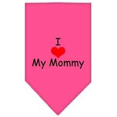 Mirage Pet Products I Heart My Mommy  Screen Print Bandana Bright Pink Large