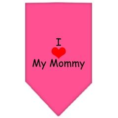 Mirage Pet Products I Heart My Mommy  Screen Print Bandana Bright Pink Small