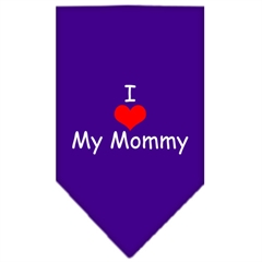 Mirage Pet Products I Heart My Mommy  Screen Print Bandana Purple Small