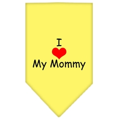 Mirage Pet Products I Heart My Mommy  Screen Print Bandana Yellow Small
