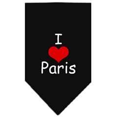 Mirage Pet Products I Heart Paris  Screen Print Bandana Black Small