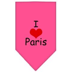 Mirage Pet Products I Heart Paris  Screen Print Bandana Bright Pink Large