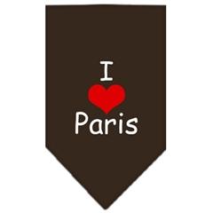 Mirage Pet Products I Heart Paris  Screen Print Bandana Cocoa Large