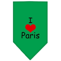Mirage Pet Products I Heart Paris  Screen Print Bandana Emerald Green Large