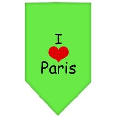 Mirage Pet Products I Heart Paris  Screen Print Bandana Lime Green Small