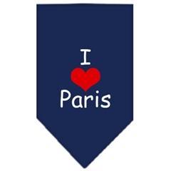 Mirage Pet Products I Heart Paris  Screen Print Bandana Navy Blue Small
