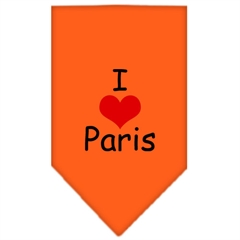 Mirage Pet Products I Heart Paris  Screen Print Bandana Orange Small