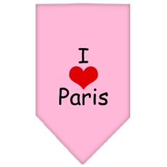 Mirage Pet Products I Heart Paris  Screen Print Bandana Light Pink Large