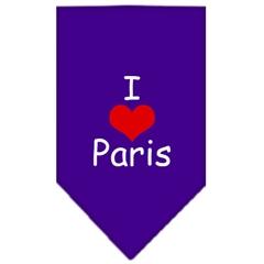 Mirage Pet Products I Heart Paris  Screen Print Bandana Purple Large