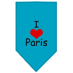 Mirage Pet Products I Heart Paris  Screen Print Bandana Turquoise Small