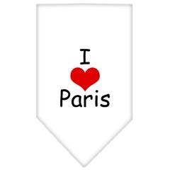 Mirage Pet Products I Heart Paris  Screen Print Bandana White Large