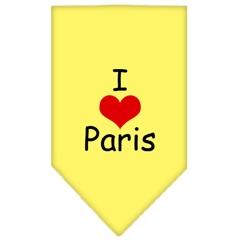 Mirage Pet Products I Heart Paris  Screen Print Bandana Yellow Large