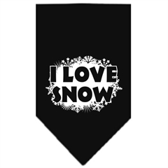 Mirage Pet Products I Love Snow Screen Print Bandana Black Large