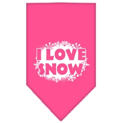 Mirage Pet Products I Love Snow Screen Print Bandana Bright Pink Small