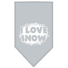Mirage Pet Products I Love Snow Screen Print Bandana Grey Large
