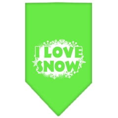 Mirage Pet Products I Love Snow Screen Print Bandana Lime Green Small