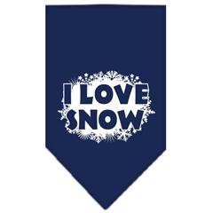 Mirage Pet Products I Love Snow Screen Print Bandana Navy Blue Small