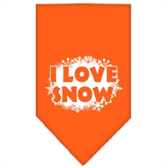 Mirage Pet Products I Love Snow Screen Print Bandana Orange Small
