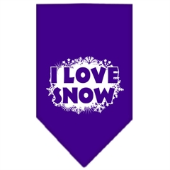 Mirage Pet Products I Love Snow Screen Print Bandana Purple Small