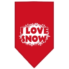 Mirage Pet Products I Love Snow Screen Print Bandana Red Large