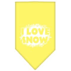 Mirage Pet Products I Love Snow Screen Print Bandana Yellow Small