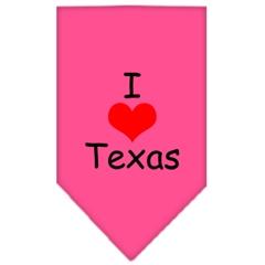 Mirage Pet Products I Heart Texas  Screen Print Bandana Bright Pink Large