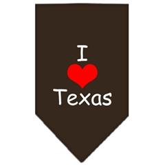 Mirage Pet Products I Heart Texas  Screen Print Bandana Cocoa Large