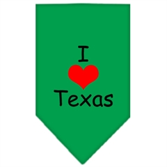 Mirage Pet Products I Heart Texas  Screen Print Bandana Emerald Green Large