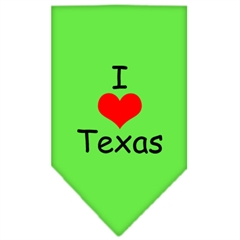 Mirage Pet Products I Heart Texas  Screen Print Bandana Lime Green Large