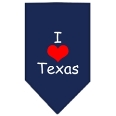 Mirage Pet Products I Heart Texas  Screen Print Bandana Navy Blue Small