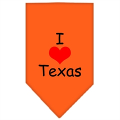Mirage Pet Products I Heart Texas  Screen Print Bandana Orange Large