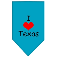 Mirage Pet Products I Heart Texas  Screen Print Bandana Turquoise Large