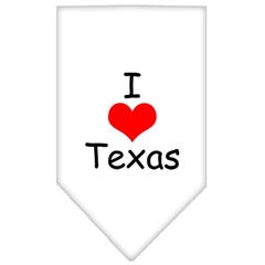 Mirage Pet Products I Heart Texas  Screen Print Bandana White Large