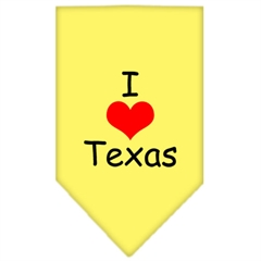 Mirage Pet Products I Heart Texas  Screen Print Bandana Yellow Small