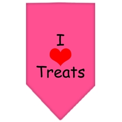 Mirage Pet Products I Heart Treats  Screen Print Bandana Bright Pink Large
