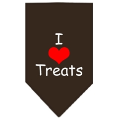 Mirage Pet Products I Heart Treats  Screen Print Bandana Cocoa Large